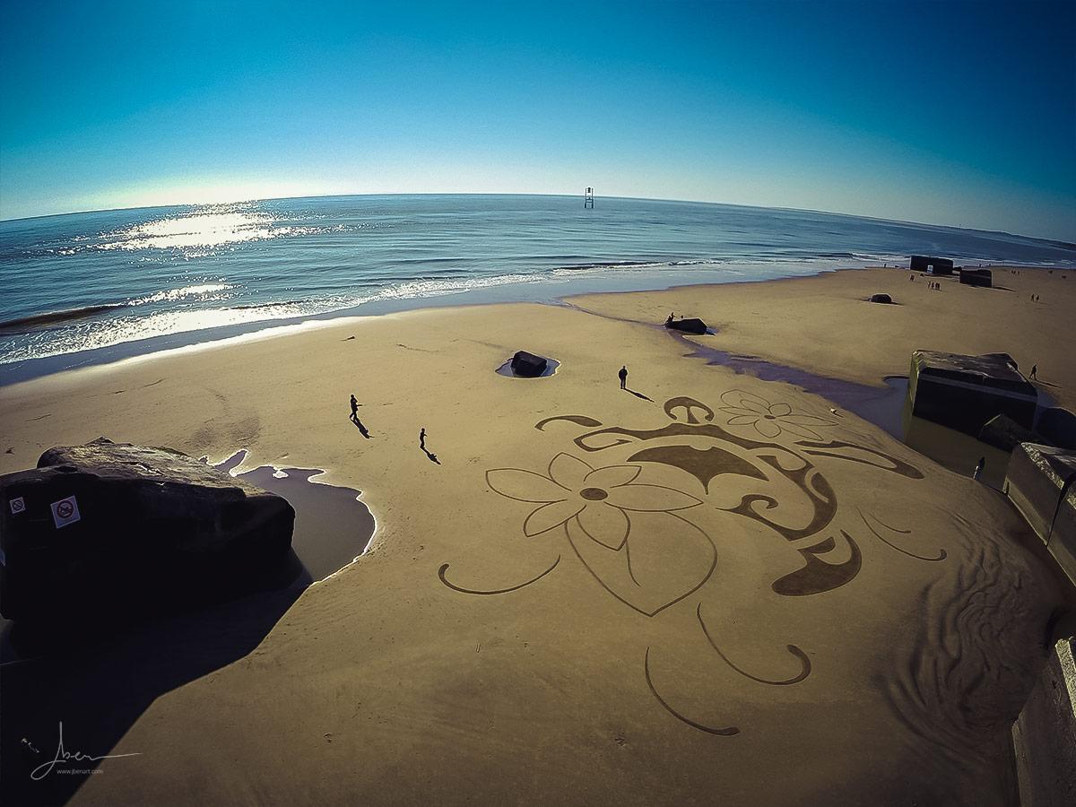 Beach art tortue polynésienne