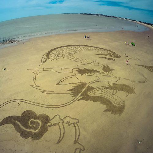 Beach art japanese dragon