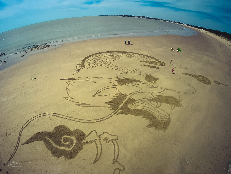 Beach art dragon japonais