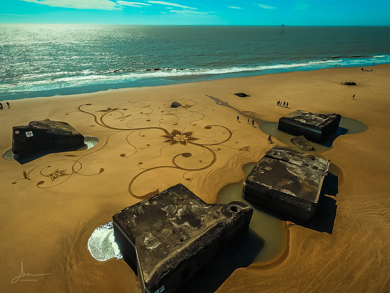 Beach art block fleuris