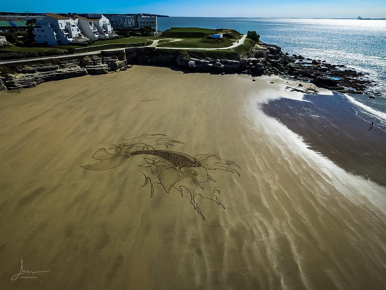 Beach art carpe koi