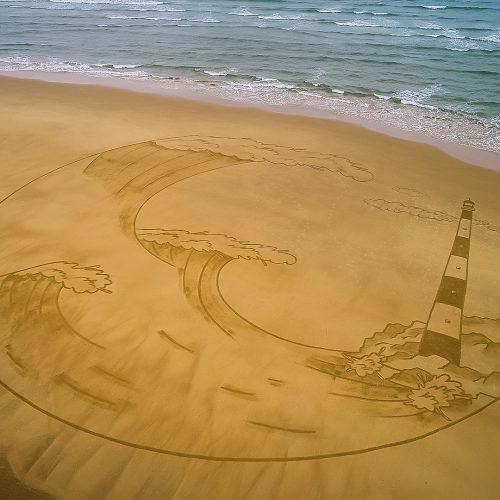 Beach art vagues VS phare
