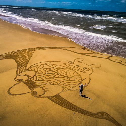 Beach art Totoro