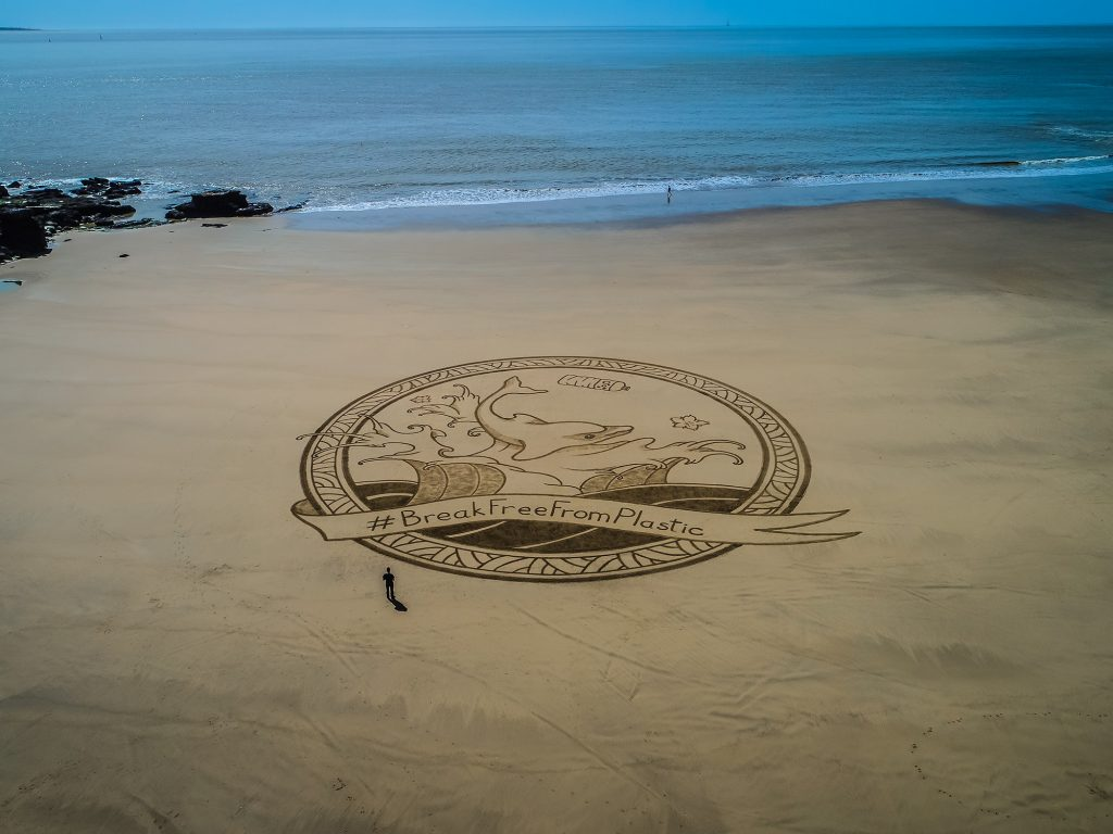 Beach art stop plastik