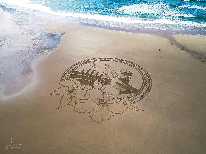 Beach art Moaï