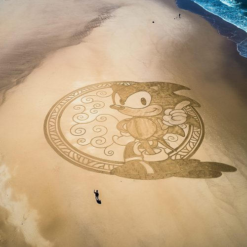 Beach art sonic the Hedgehog