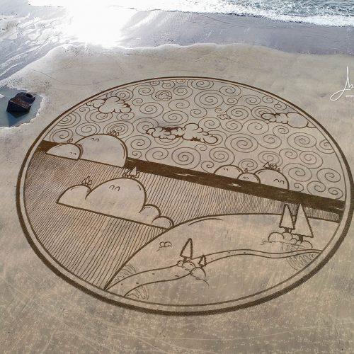 Beach art happy world