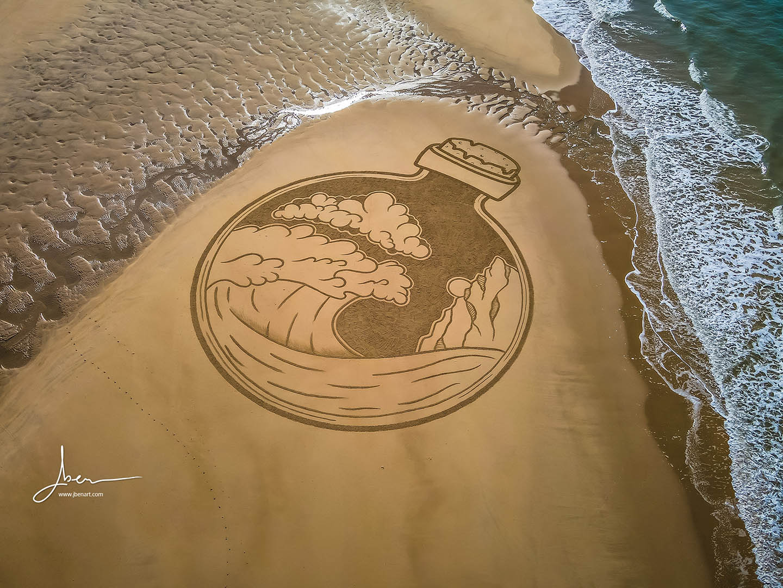 Beach art earth in a bottle