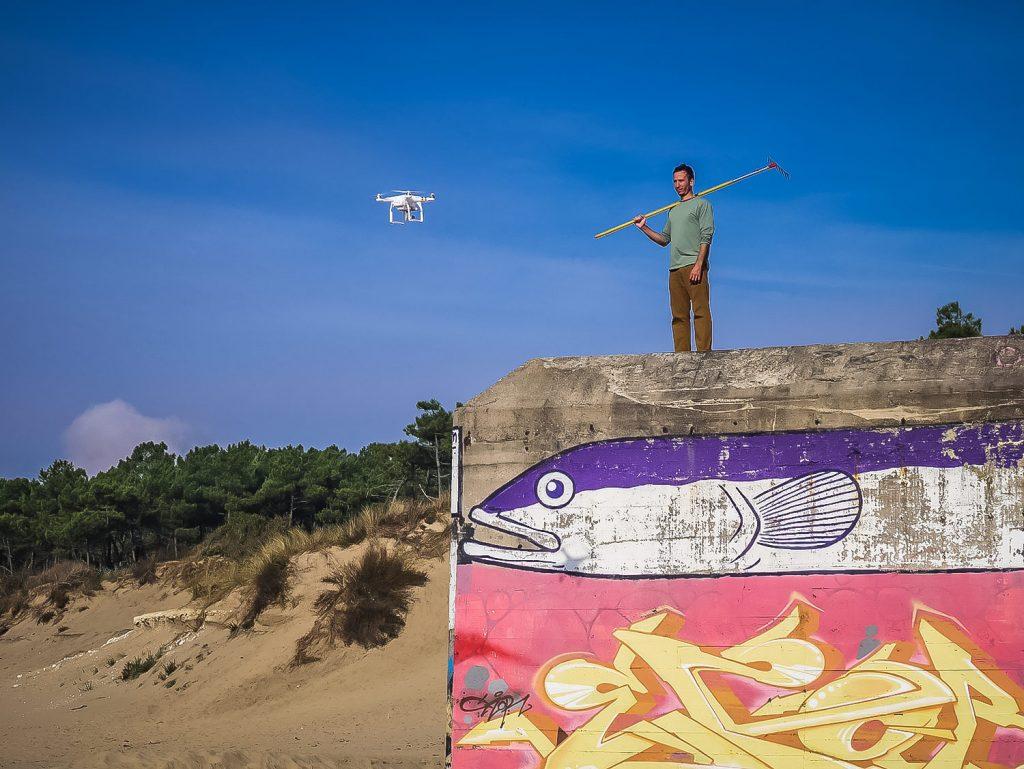 Drone beach art
