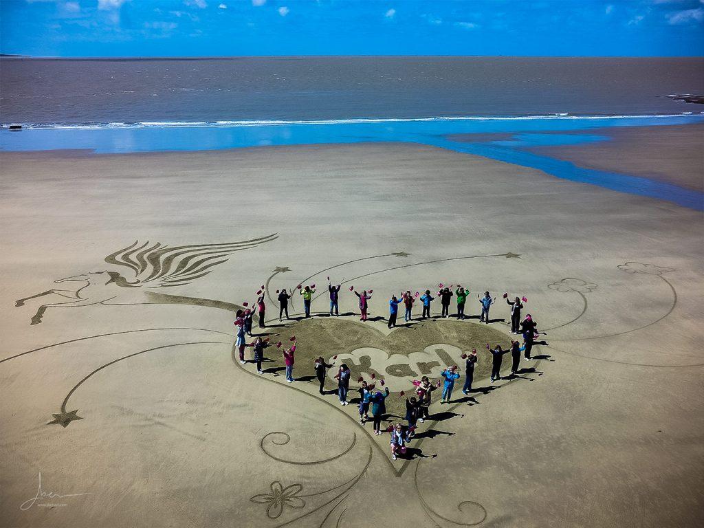Beach Art un coeur pour Karl